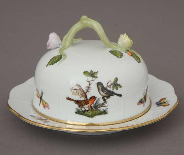 Butter dish, branch knob - Rothschild bird