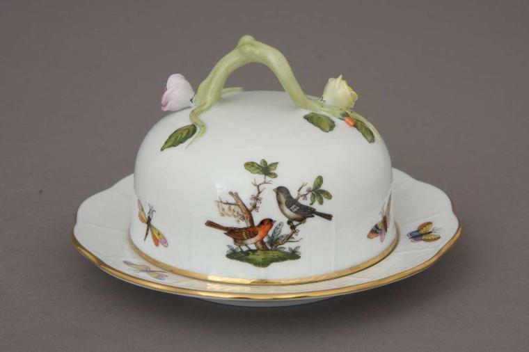 Butter dish, branch knob - Rothschild bird