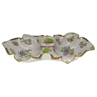 Double fancy dish, leaf-shaped (Assorted Decors)