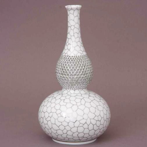 Vase, bottle-shaped, open-work