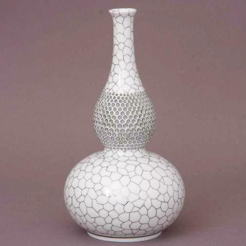 Vase, bottle-shaped, open-work