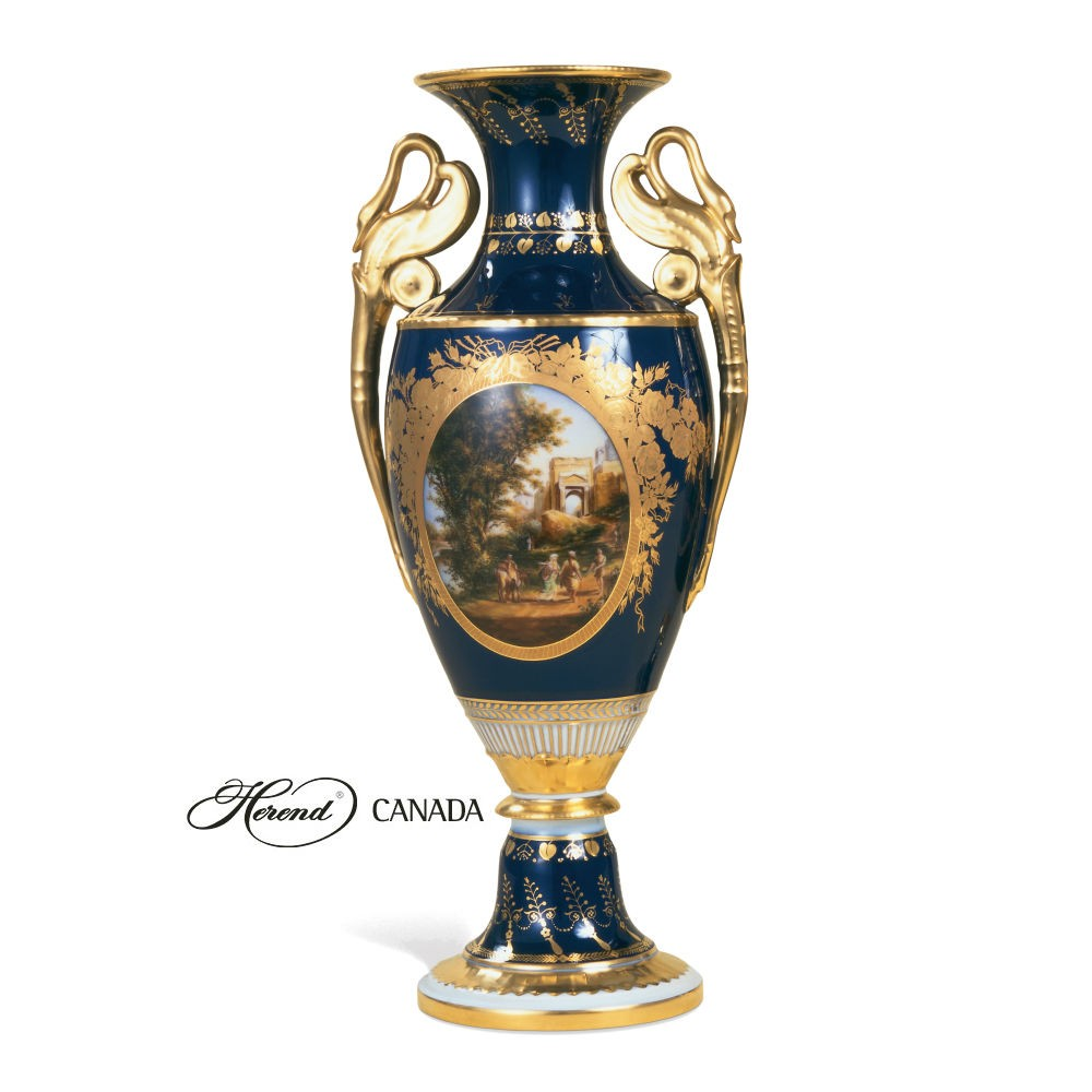 Large Vase w. Gold Swan handles (Assorted Decors)