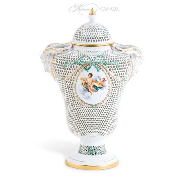 Vase, button knob, open-work