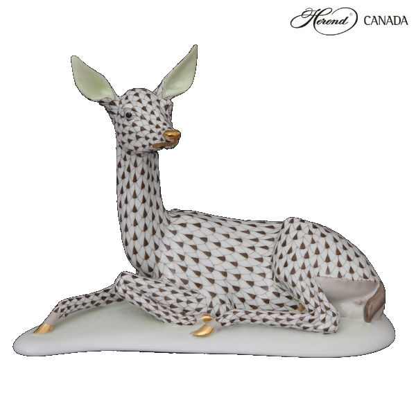 Deer, lying - Fishnet Black - Herend Canada