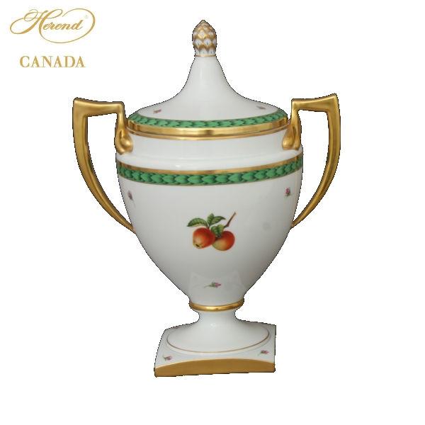 Empire Blue Roses Vase, acanthus knob