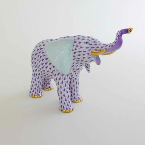 HEREND Mother Elephant Figurine - Fishnet Colors