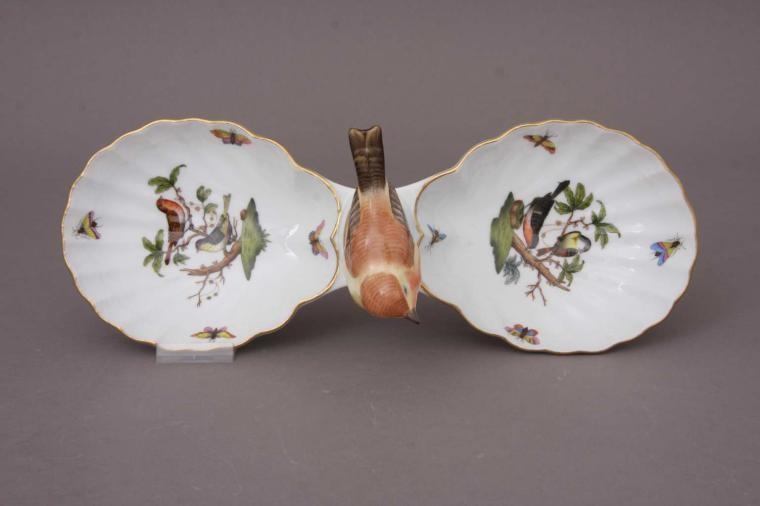 Double fancy dish, with bird