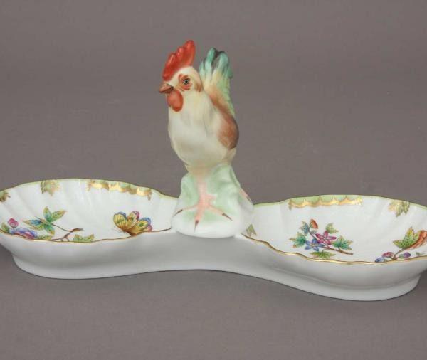 Double fancy dish, with cockerel- Queen Victoria
