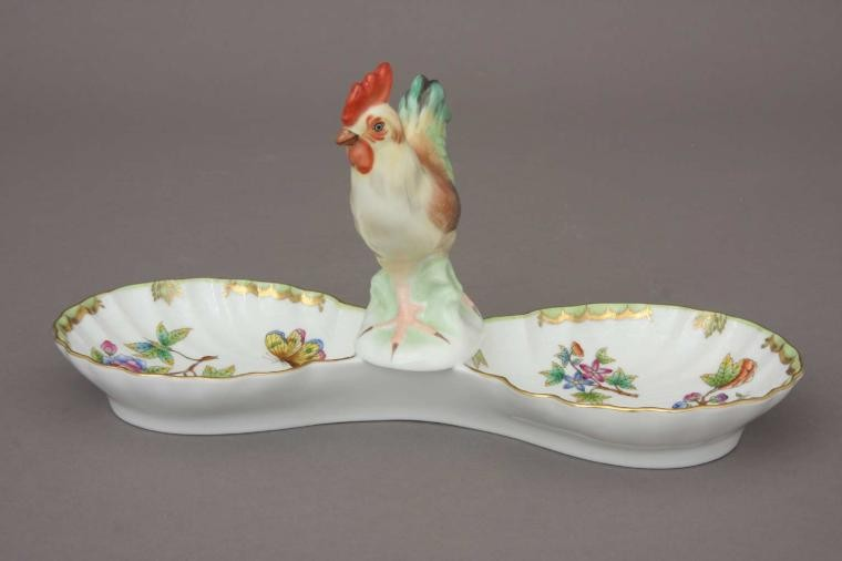 Double fancy dish, with cockerel- Queen Victoria