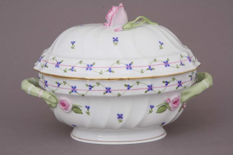 Soup Tureen, rose knob - Petite Blue Garland