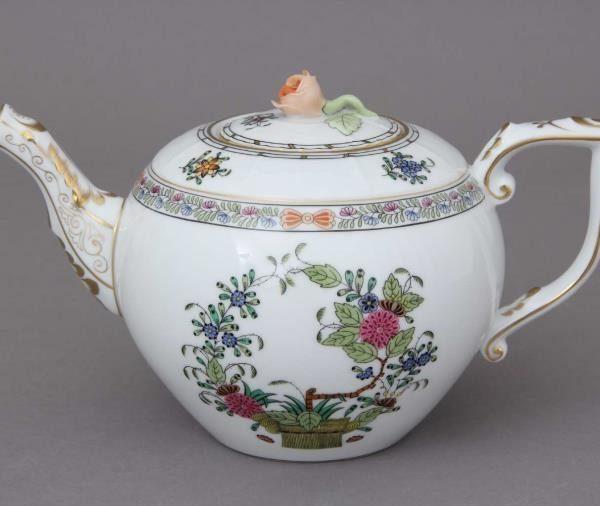 Teapot, rose knob - Indian Basket Multicolor