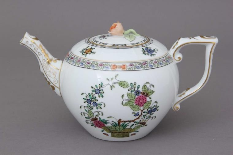 Teapot, rose knob - Indian Basket Multicolor