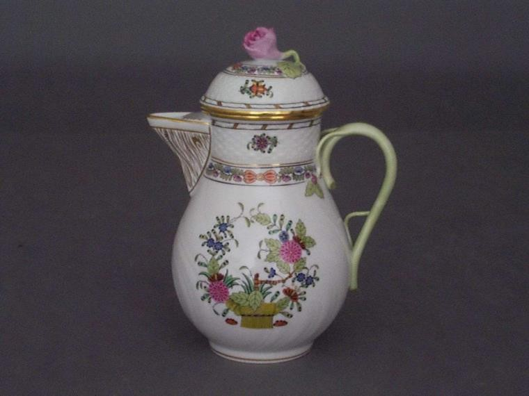 Coffee Pot, rose knob - Indian Basket Multicolor