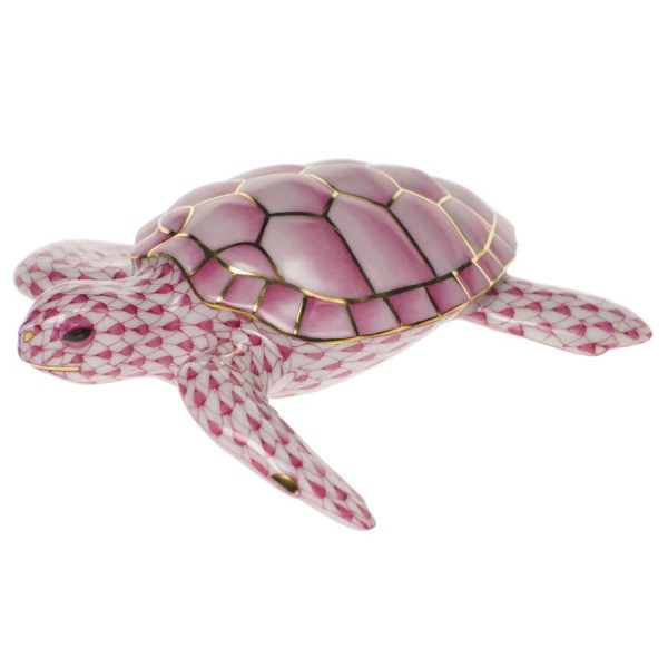 Loggerhead Turtle Animal Figurine - Loggerhead Turtle - Loggerhead Turtle is painted in Vieux Herend (VHL) Lilac Fish scale design.