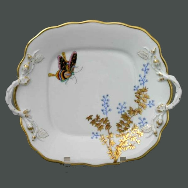 Cake Plate w. Handle - Bamboo & Butterfly
