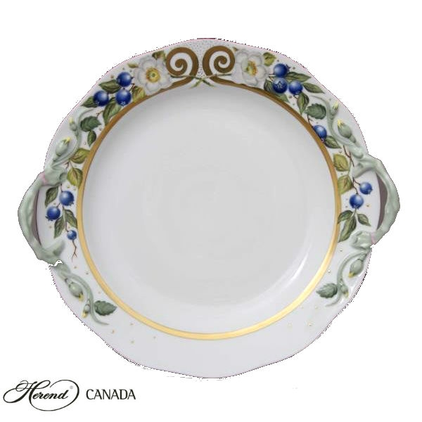 Cake Plate w. handle - Berries Gold Edition