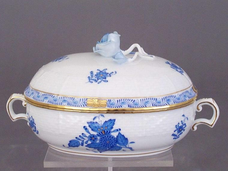 Jam pot, rose knob - Chinese Bouquet Blue