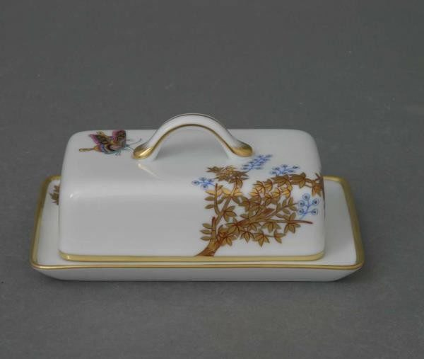 Butter dish, twisted knob - Bamboo & Butterfly