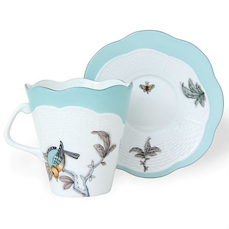 Cup & Saucer - Foret Bird Turquoise Platinum