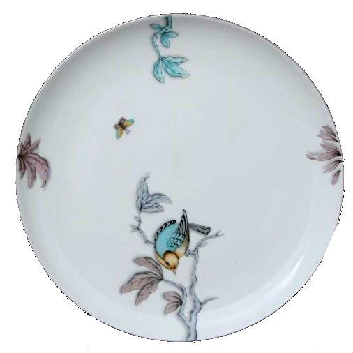 Dinner plate - Foret Bird Torquoise Platinum