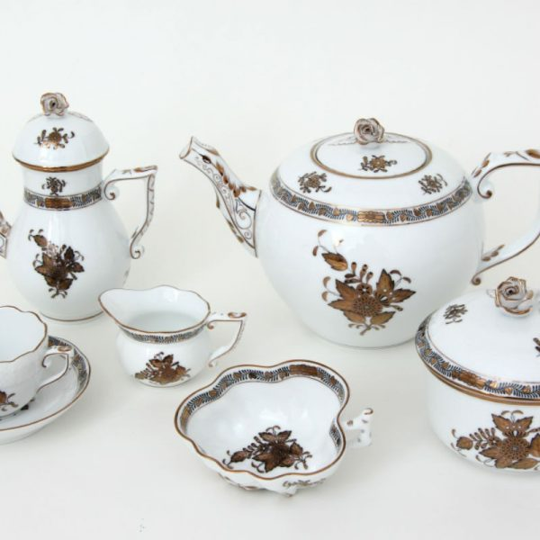 Coffee Pot, rose knob - Chinese Bouquet Gold