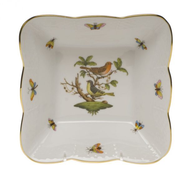 Square Salad bowl - Rothschild Bird Hand painted with 24k gold accents