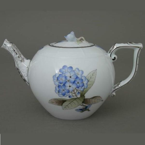 Teapot, rose knob - Victoria Grande Blue Platinum