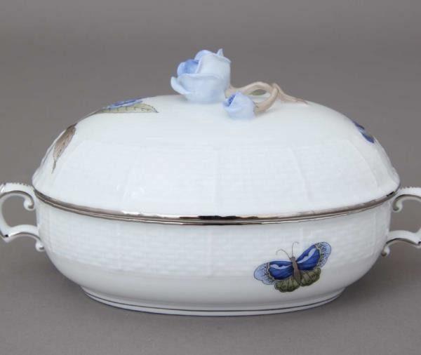 Jam pot, rose knob - Victoria Grande Blue - Platinum