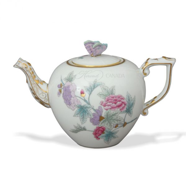 Teapot, bird knob - Royal Flowers Blue
