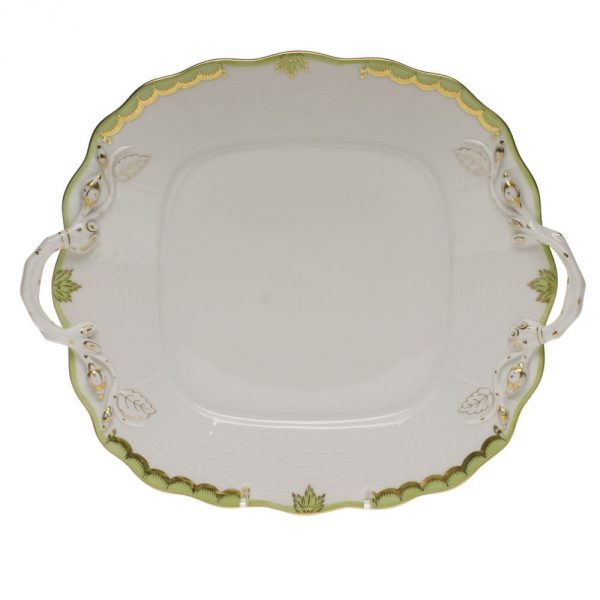 Square cake plate w. handle - Queen Victoria