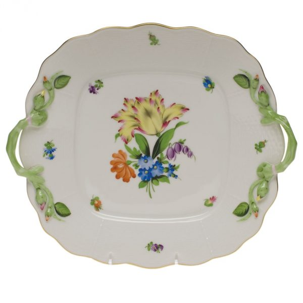 Square cake plate w. handle - Princess Victoria (Assorted Colors)