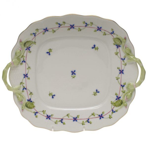 Square cake plate w. handle - Royal Garden Butterfly