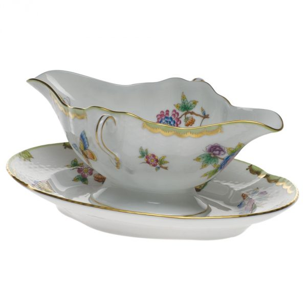 Gravy boat with stand - Petite Blue Garland