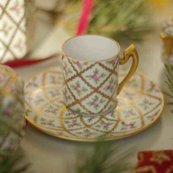 Herend Sevres Roses Espresso Cup and Saucer