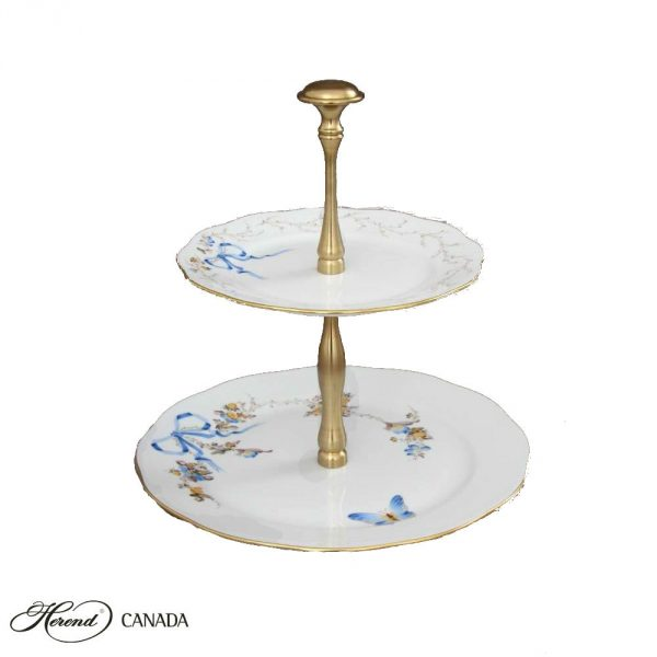Two tier fruit stand - EDEN Blue - Gold handle