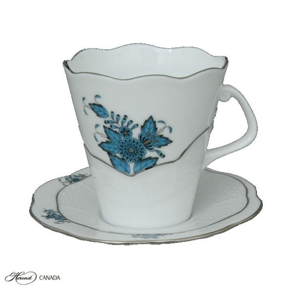 Cup & Saucer - Chinese Bouquet Turquoise Platinum
