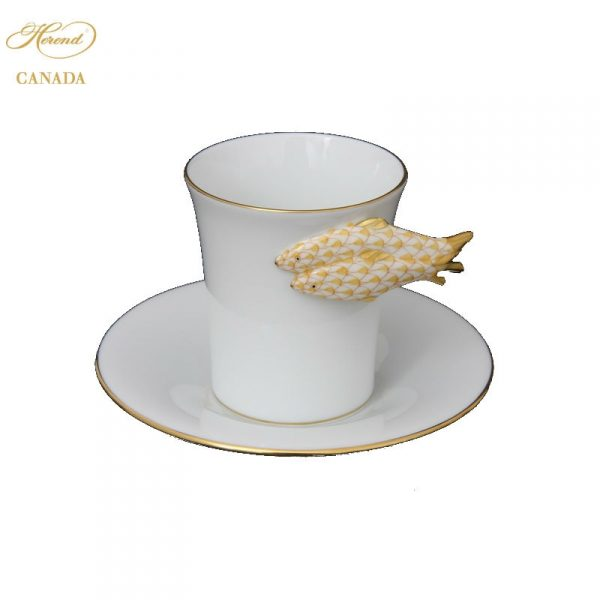 Coffeecup and Saucer - Fish Handle