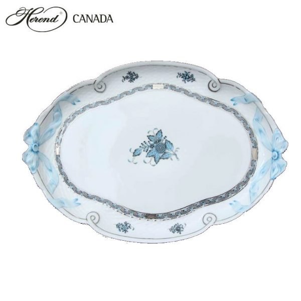 Ribbon Tray - Chinese Bouquet Turquoise Platinum