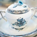 Sugar basin, rose knob - Chinese Bouquet Turquoise Platinum