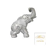 Elephant with Curled Trunk - Fishnet Platinum