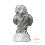 Owl on branch - Fishnet Platinum