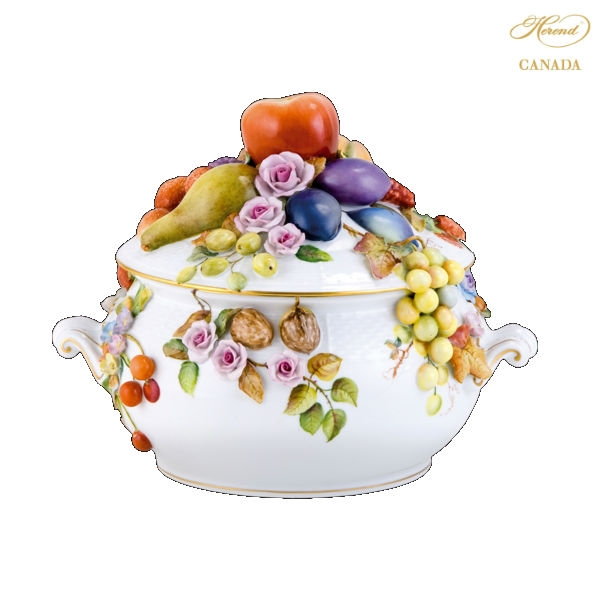 Soup tureen with flower and fruit - Natural
