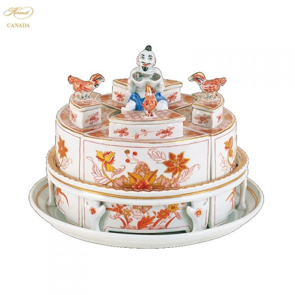 Tea Caddy with tray, butterfly knob