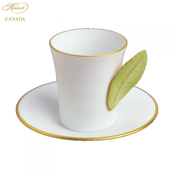 Cup and Saucer with leaf handle