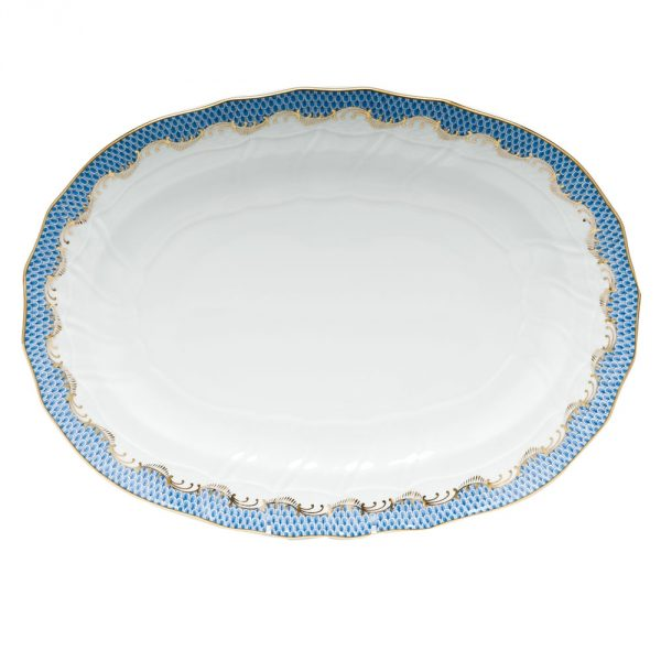 Medium Oval dish - Fish Scale Blue