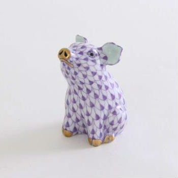 Sitting Little Pig - Fishnet Purple