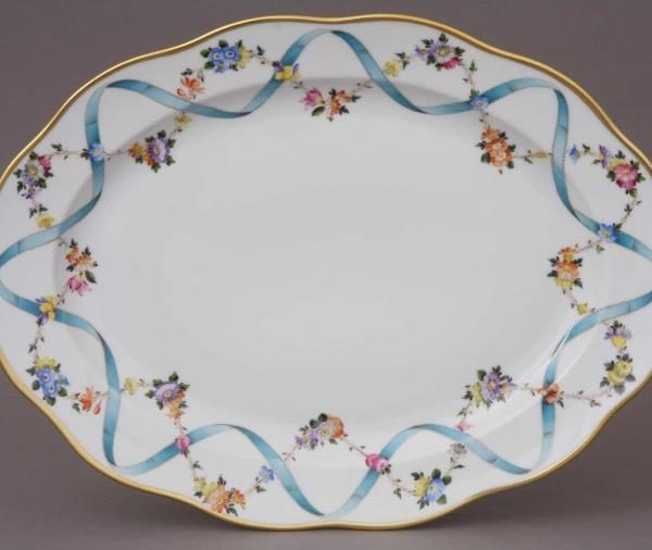 Medium Oval dish - Ribbon Flower
