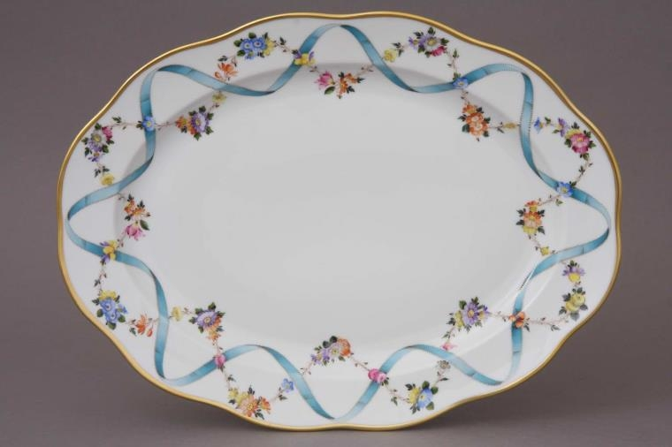 Medium Oval dish - Ribbon Flower