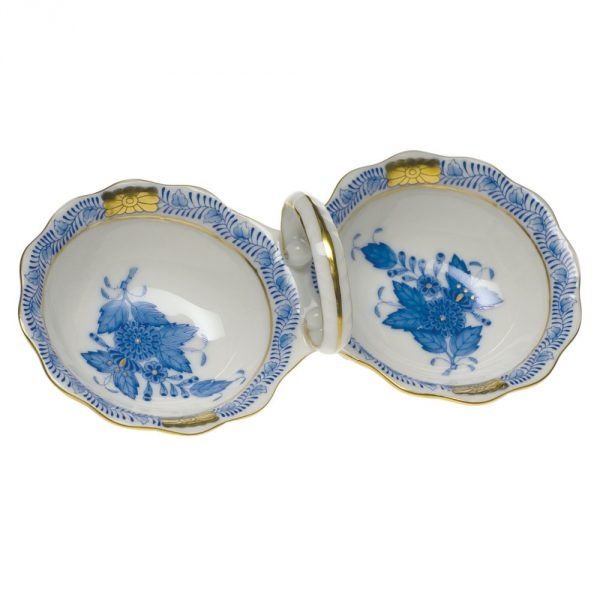 Twin salt cellar - Chinese Bouquet Blue