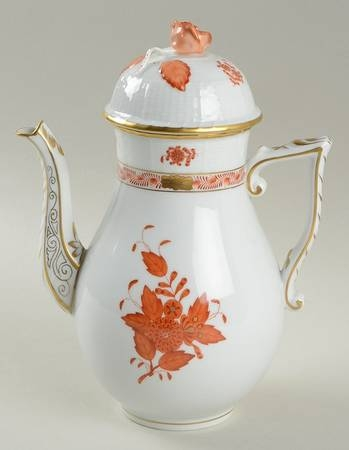 Coffee Pot, Rose knob - Chinese Bouquet Rust